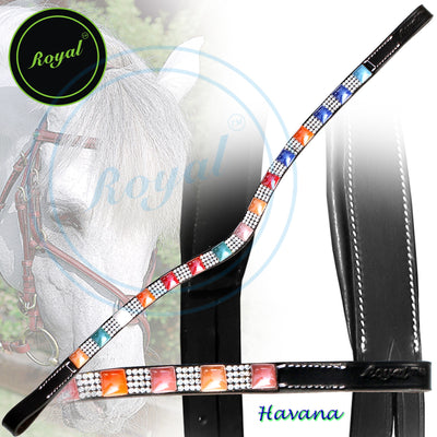 Bling Browband for Horses-Royal Small Magnificent & Alternate Pink, Blue, Orange, Red Colored Pattern with White Crystal U-Shaped Browband-Bridles and Reins