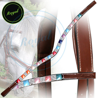 ExionPro Small Magnificent & Alternate Pink, Blue, Orange, Red Colored Pattern with White Crystal U-Shaped Browband-Bridles & Reins