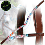 Royal Small Magnificent & Alternate Pink, Blue, Orange, Red Colored Pattern with White Crystal U-Shaped Brow Band.