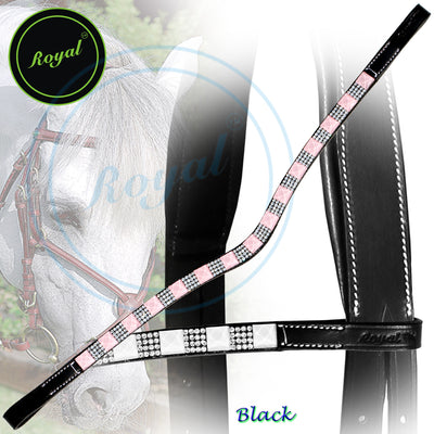 ExionPro Small Magnificent & Alternate Pattern Pinkish Crystal U-Shaped Browband-Bling Browbands from Bridles & Reins