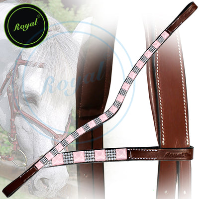 Bling Browband for Horses-Royal Small Magnificent & Alternate Pattern Pinkish Crystal U-Shaped Browband-Bridles and Reins
