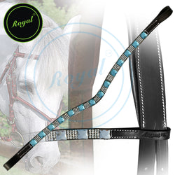 Royal Designer Alternate Large Blue Tiny White Crystal U-Shaped Brow Band.