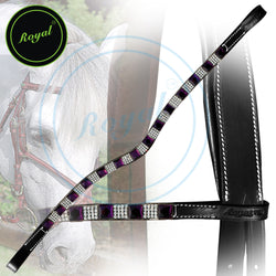 Royal Designer Alternate Large Purple Tiny White Crystal U-Shaped Brow Band.