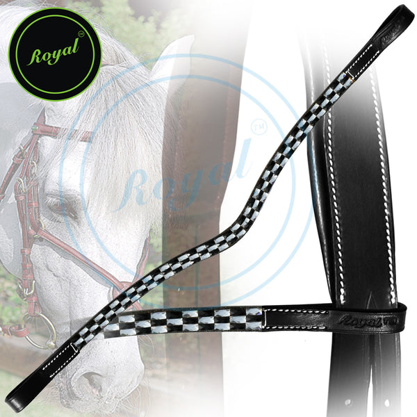 Royal Black & White Design Tablet Pattern U-Shaped Crystal Brow Band.