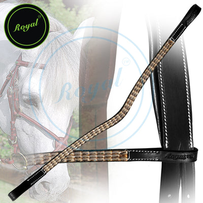 Bling Browband for Horses-Royal Designer Copper Tablet Style U-Shaped Browband-Bridles and Reins