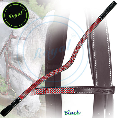 ExionPro Designer Attractive Red Crystal Browband-Bridles & Reins