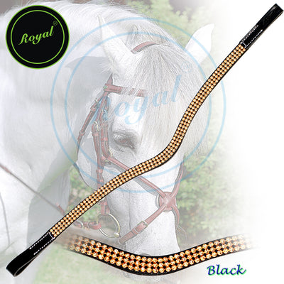 ExionPro Designer Magnificently Designed Golden Crystal Diamond Browband-Bling Browbands from Bridles & Reins