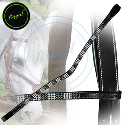 Royal Designer Necklace Pattern Black White U-Shaped Crystal Brow Band.