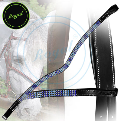 ExionPro Designer Necklace Pattern Light and Dark Blue Crystal Browband-Bridles & Reins