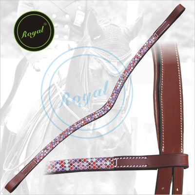 ExionPro Designer Necklace Pattern Multi colored Crystal linked Browband-Bridles & Reins