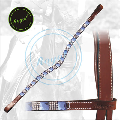 ExionPro Designer Necklace Pattern Alternate Blue Metallic Square Tiny White Crystal linked Browband-Bridles & Reins