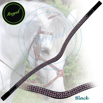 ExionPro Designer Magnificently Carved Purple Crystal Browband-Bridles & Reins