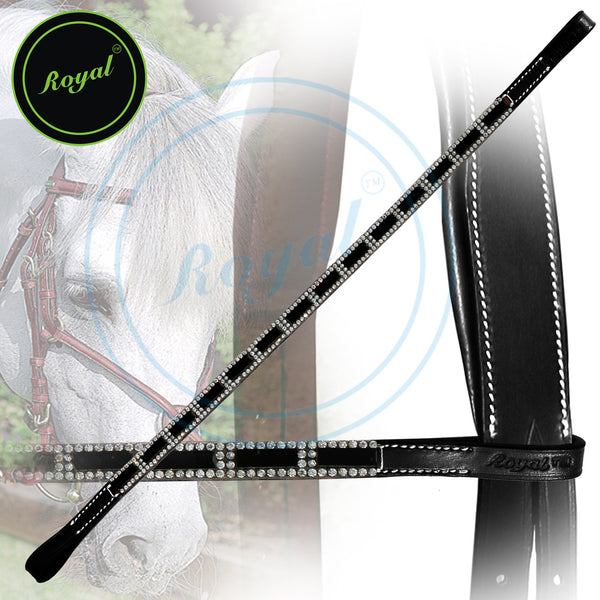 Royal Designer Tiny Crystal Encircled Black Tablet Brow Band.