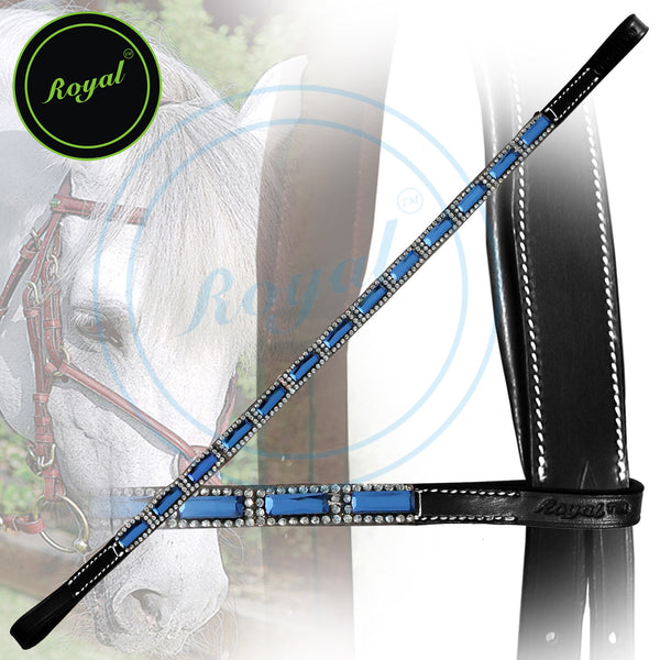 Royal Designer Tiny Crystal Encircled Blue Tablet Brow Band.