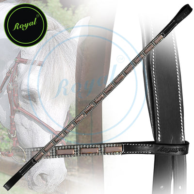 Bling Browband for Horses-Royal Designer Tiny Crystal Encircled Peach Tablet Browband-Bridles and Reins
