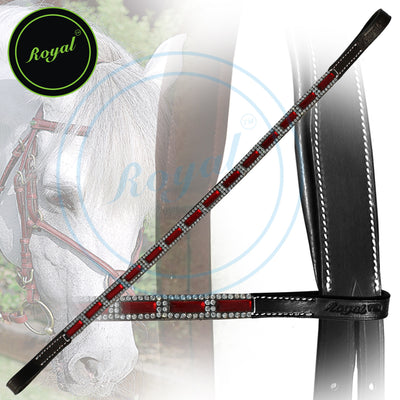 ExionPro Designer Tiny Crystal Encircled Maroon Tablet Browband-Bling Browbands from Bridles & Reins