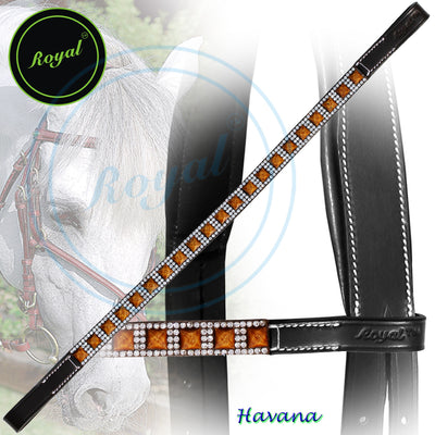 Bling Browband for Horses-Royal Magnificent & Traditional Wooden Blocks & Crystal Browband-Bridles and Reins