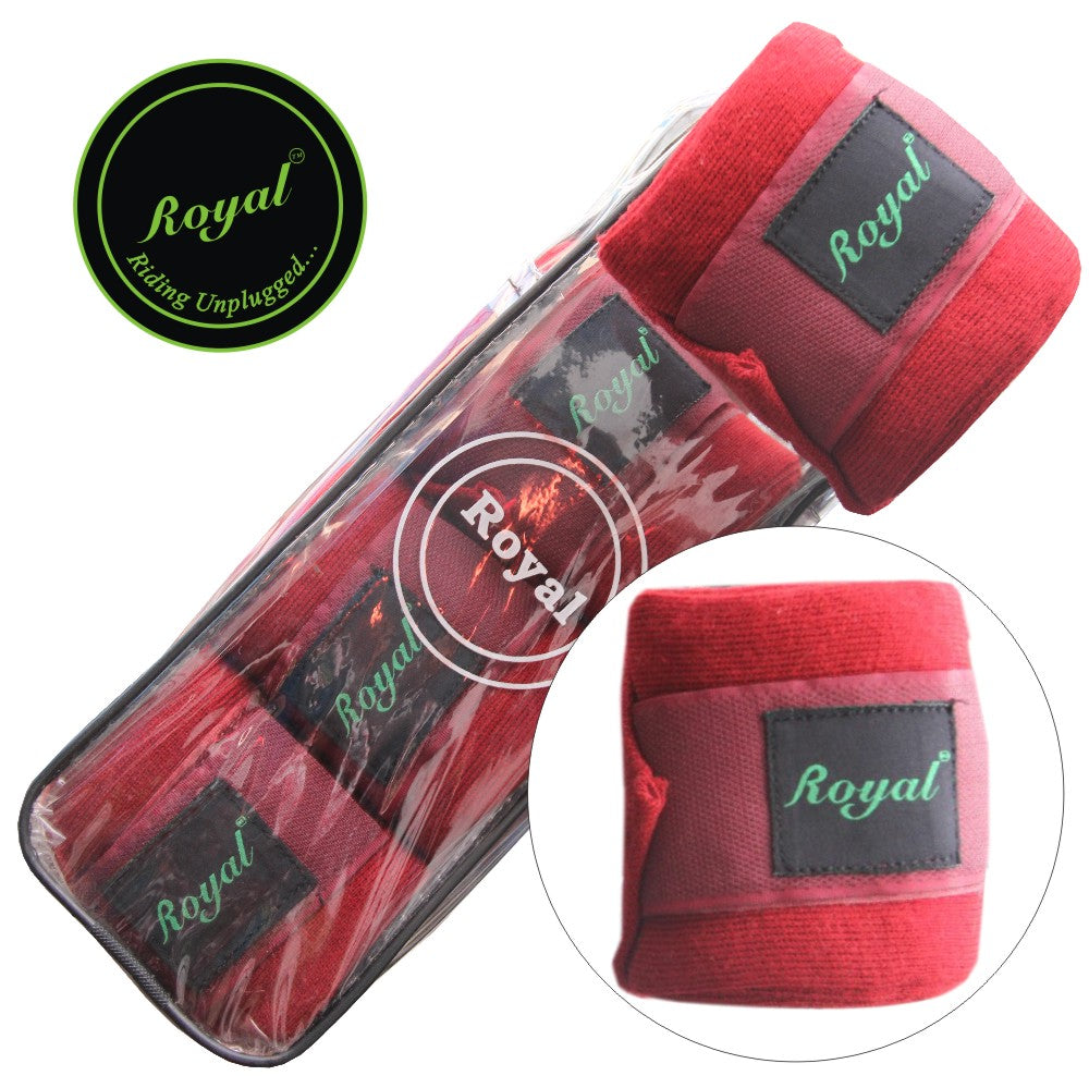 Royal Acrylic Standard Red Bandages | Pack of 4-Bridles & Reins