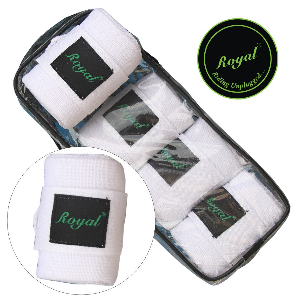 Royal Elastic Standard White Bandages | Pack of 4-Bridles & Reins