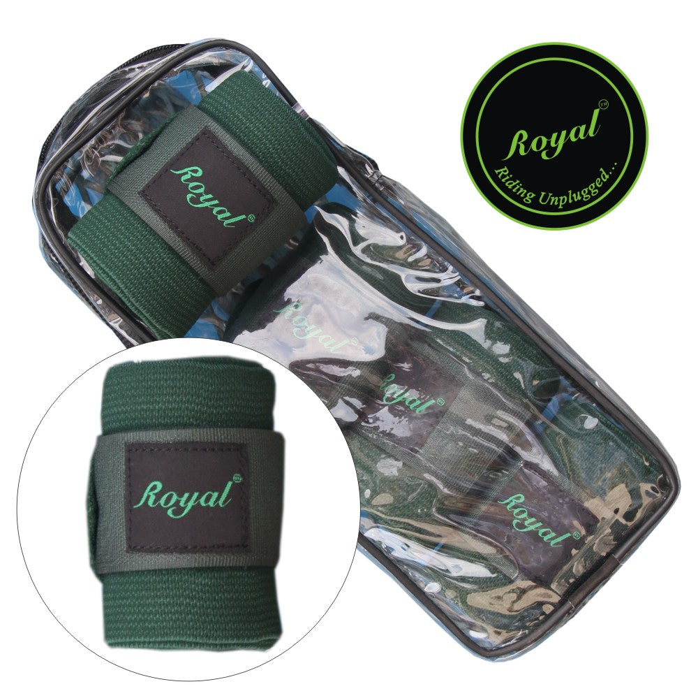 Royal Elastic Standard Green Bandages | Pack of 4-Bridles & Reins