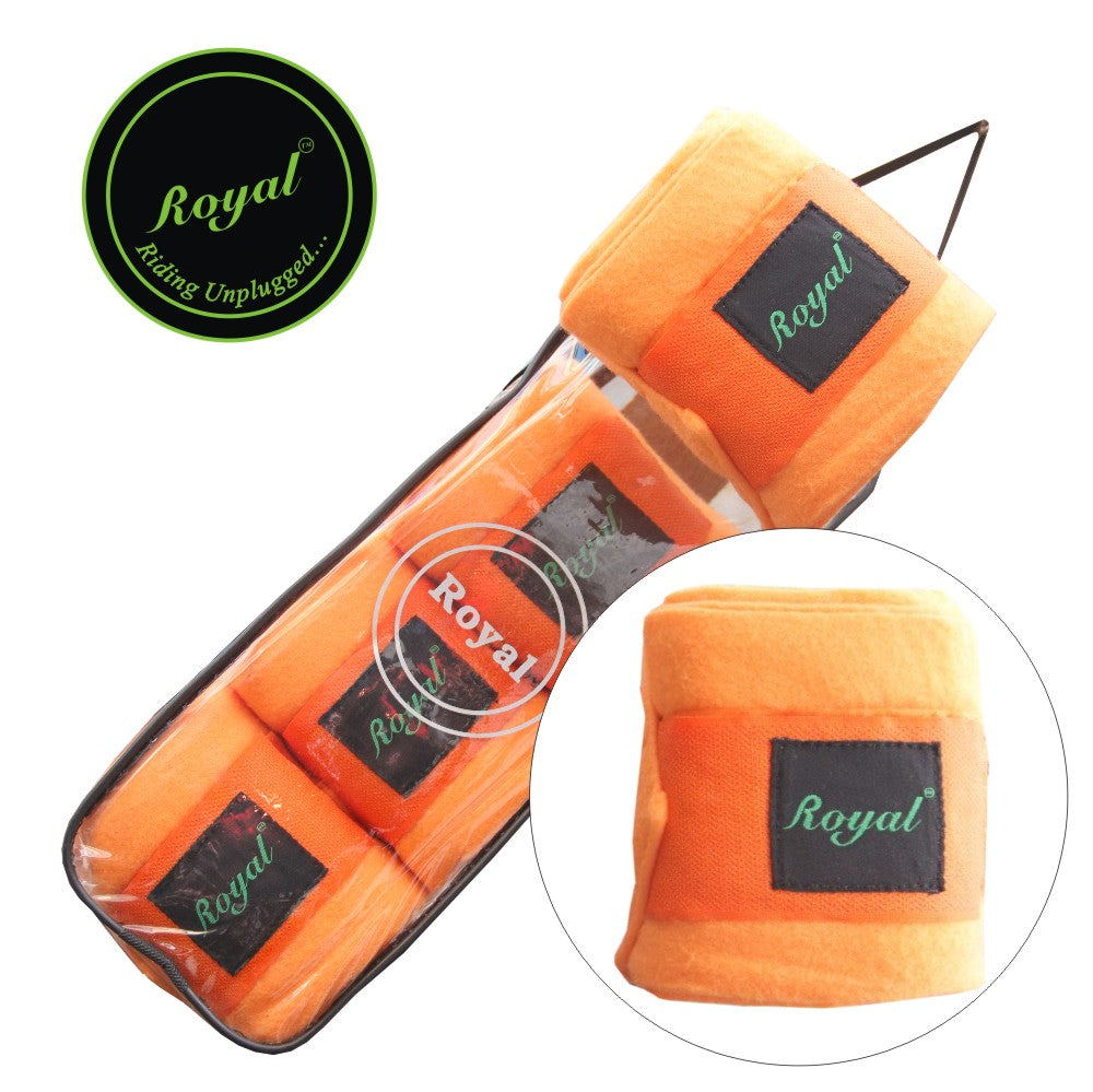 Royal Fleece Standard Orange Bandages | Pack of 4-Bridles & Reins