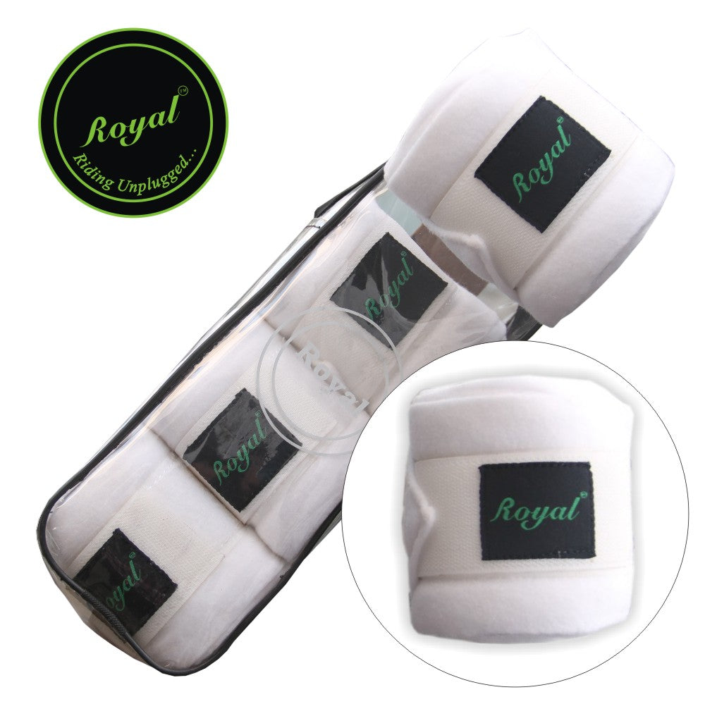 Royal Fleece Standard White Bandages | Pack of 4-Bridles & Reins