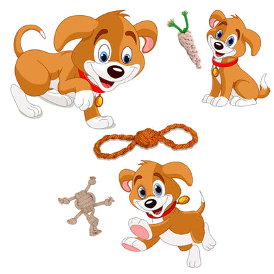 ExionPro Rope Dog Chew Toys for Interactive Play - Tug of War/ Throw Fetch - Figure 8, Turtle and Radish-Bridles & Reins