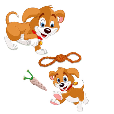 ExionPro Rope Dog Chew Toys for Interactive Play and Teething Purpose - Figure 8, Radish-Bridles & Reins