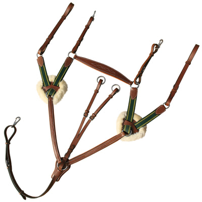 ExionPro 5 Point Breastplate with Running Attachment-Sheepskin Padding With Green Elastic & Yellow Lines-Bridles & Reins