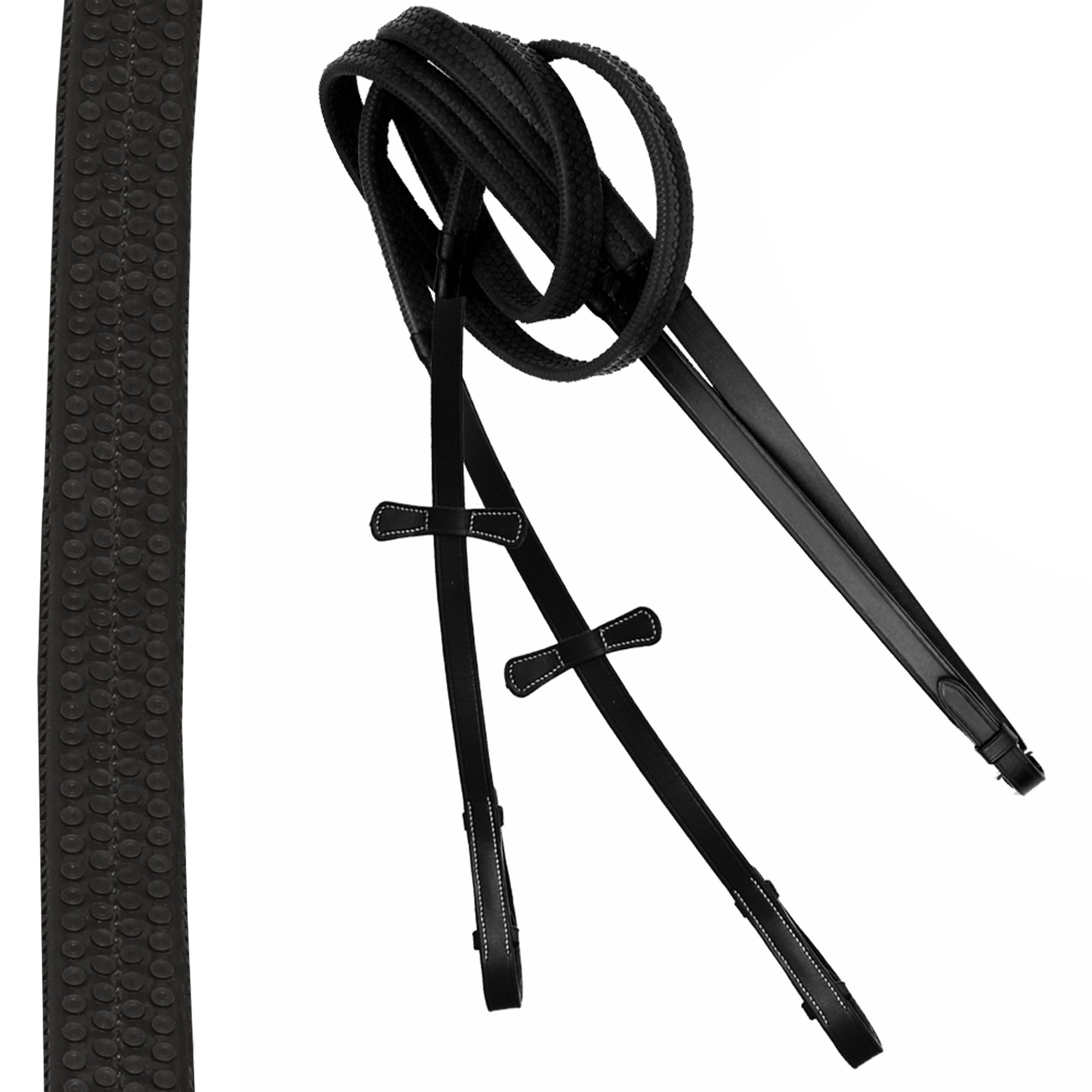 ExionPro PP Rubber Reins with Leaf Style Martingale Stoppers-Bridles & Reins
