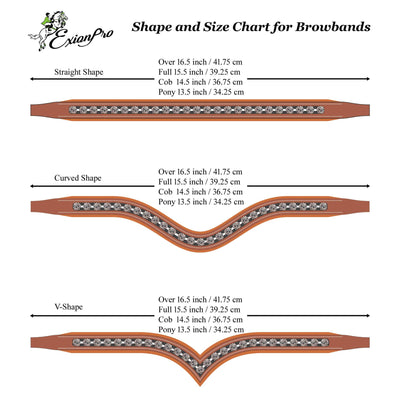 ExionPro Designer Sleek Metallic Tiny White Crystal Browband-Bridles & Reins