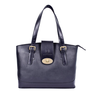 Royal Beautiful & Elegant Center Strap Look Black Grain Leather Bag.