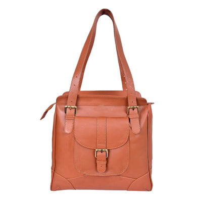 ExionPro Stylish Trendy Cut Border Embossed Tan Leather Handbags For Women-Bridles & Reins