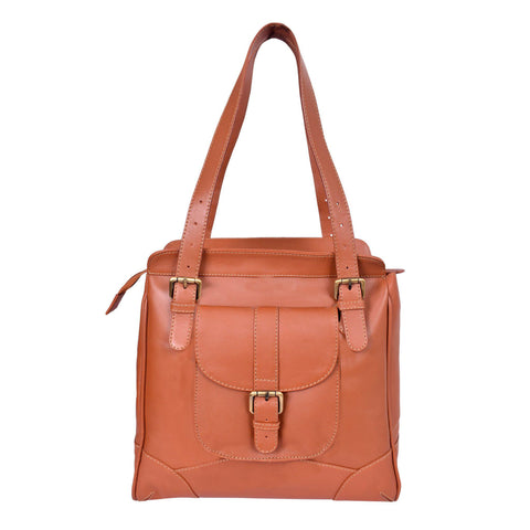 Royal Stylish Trendy Cut Border Embossed Tan Leather Bag.