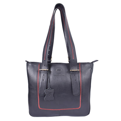 ExionPro Elegant & Stylish Grain Leather Black Handbags For Women-Bridles & Reins