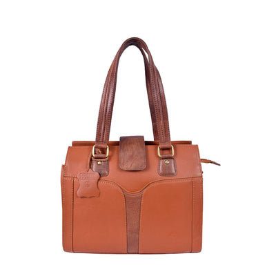 ExionPro Tan Contrast Stylish Leather Handbags For Women-Bridles & Reins