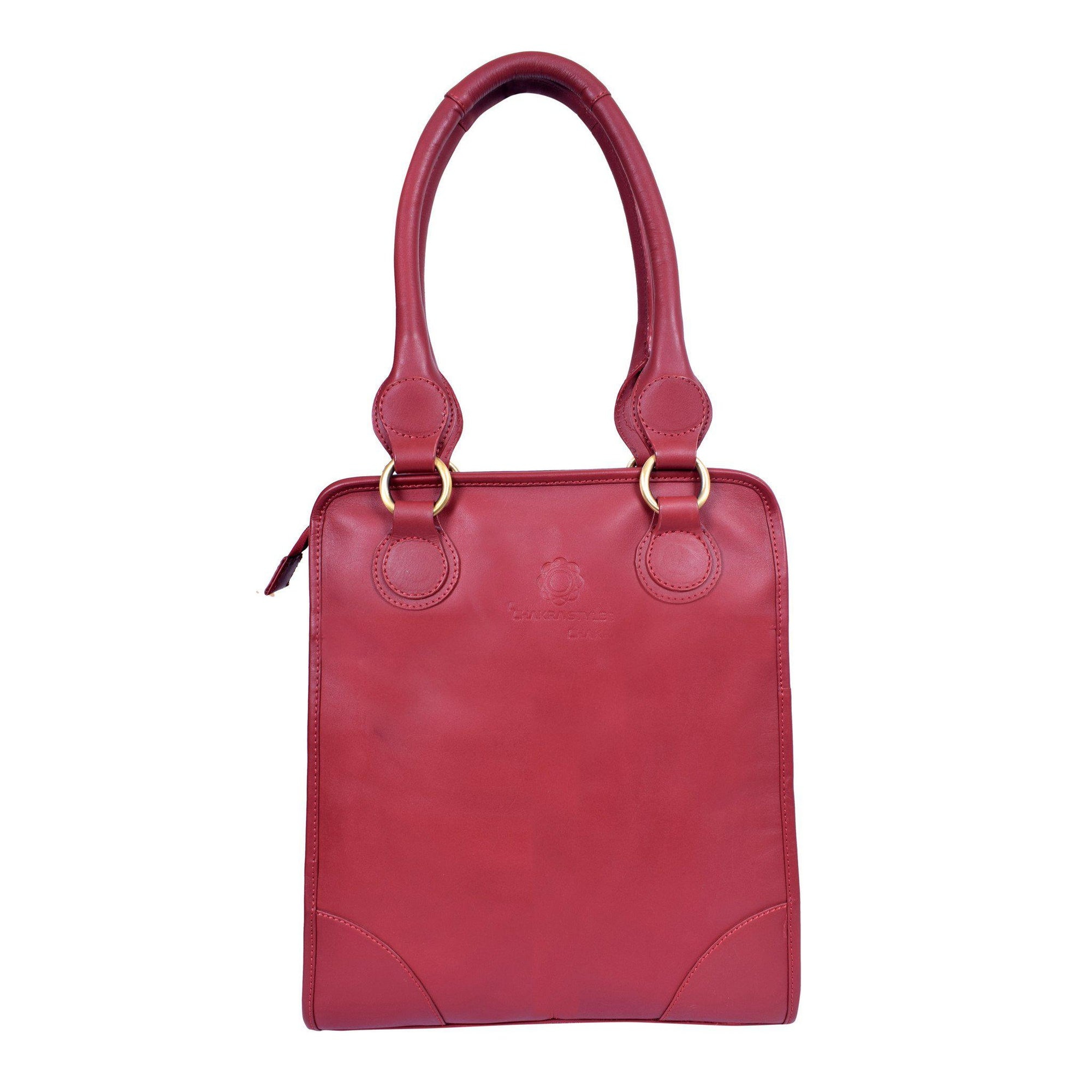 Royal Pressed Grain Leather Pink Top Shoulder Carry Bag.
