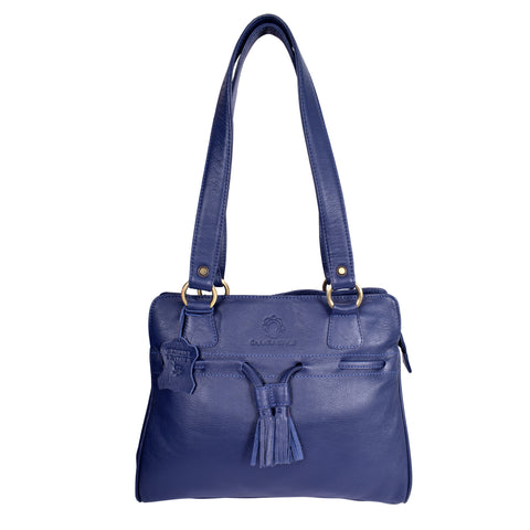 Royal Grain Leather Light Blue Female Carry Bag.