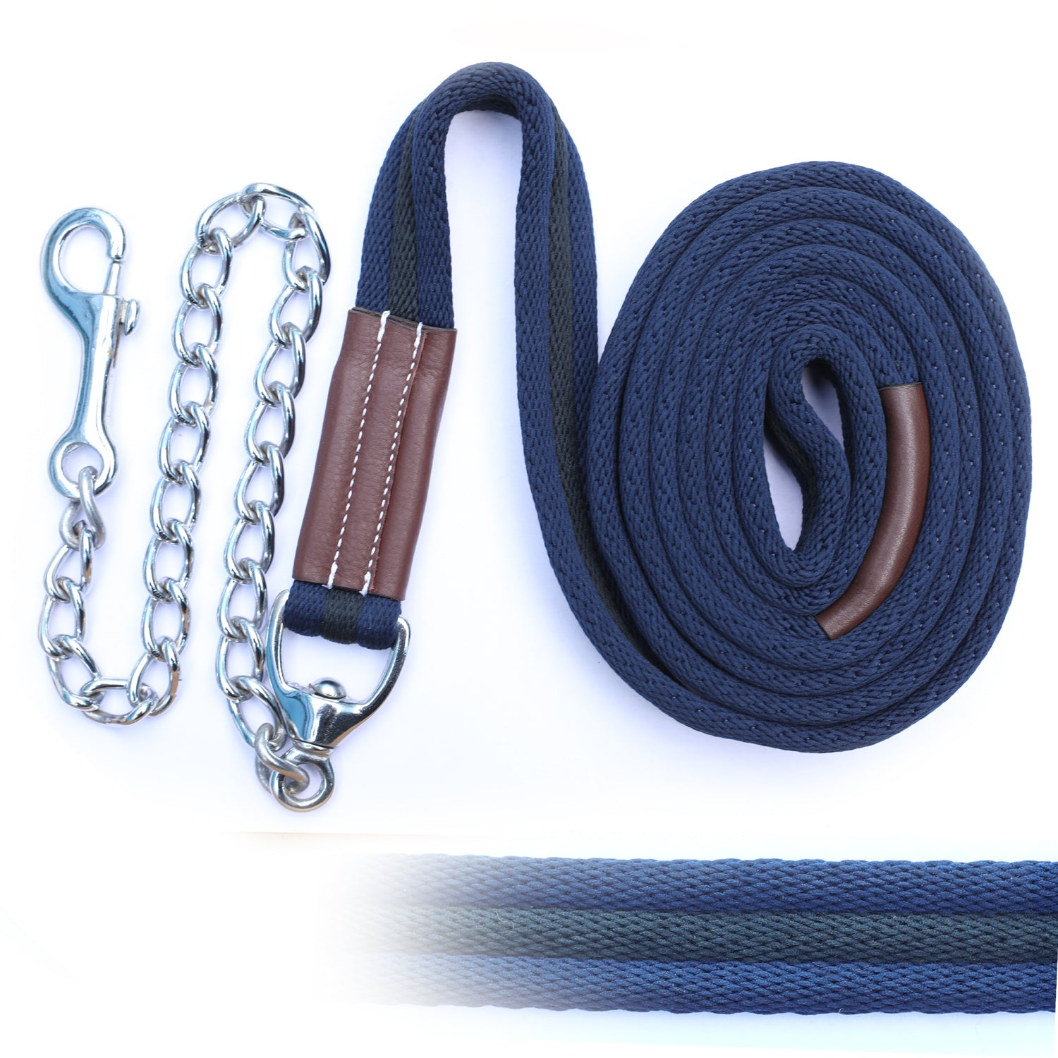 ExionPro Majestic Navy Blue Web Cushion Leads With Black Strip Along With Solid Brass Chain-Bridles & Reins