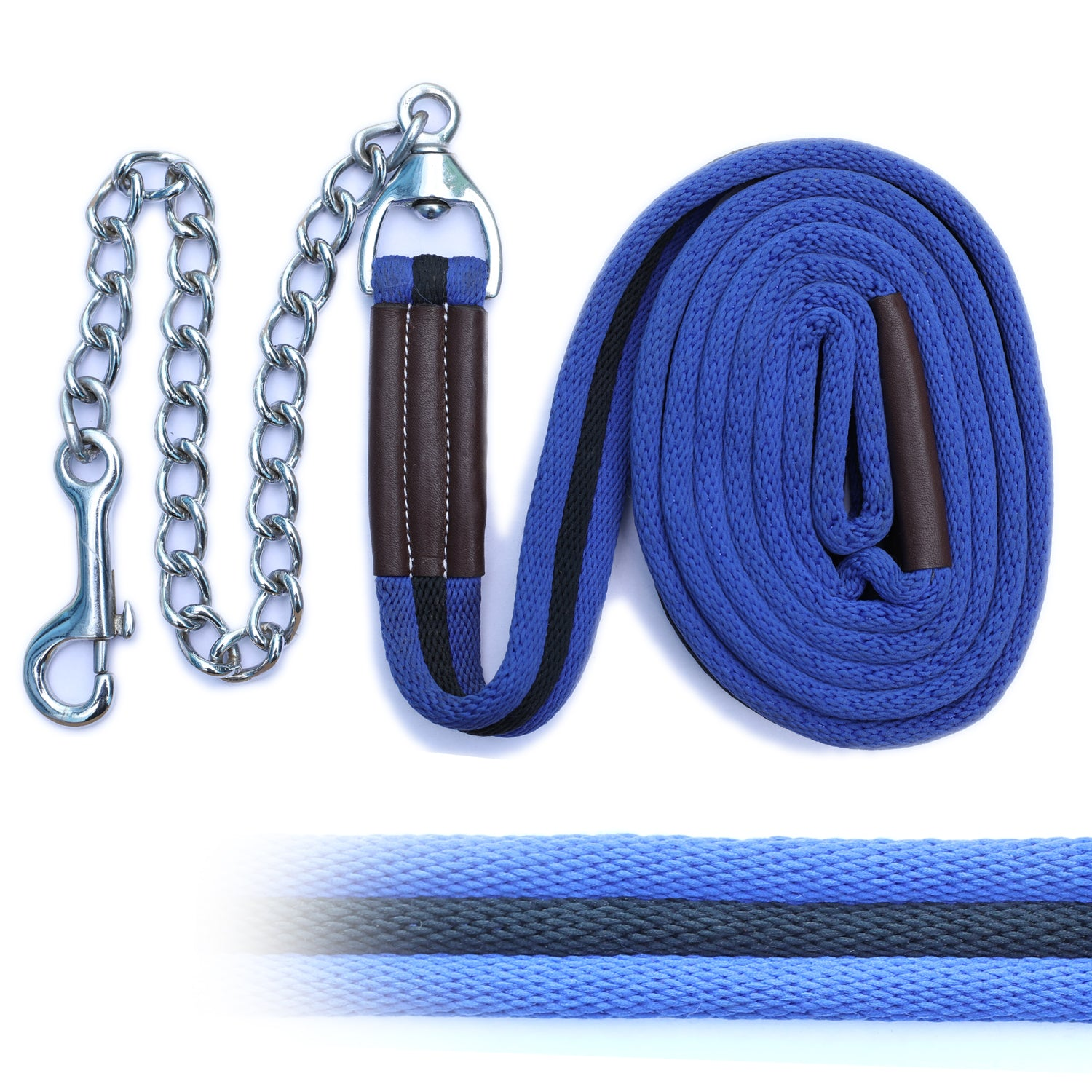 ExionPro Majestic Light Blue Web Cushion Leads With Black Strip Along With Solid Brass Chain-Bridles & Reins