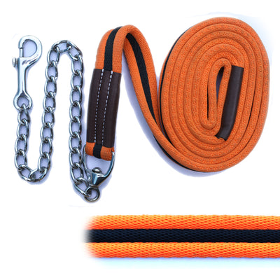 ExionPro Majestic Orange Web Cushion Leads With Black Strip Along With Solid Brass Chain-Bridles & Reins