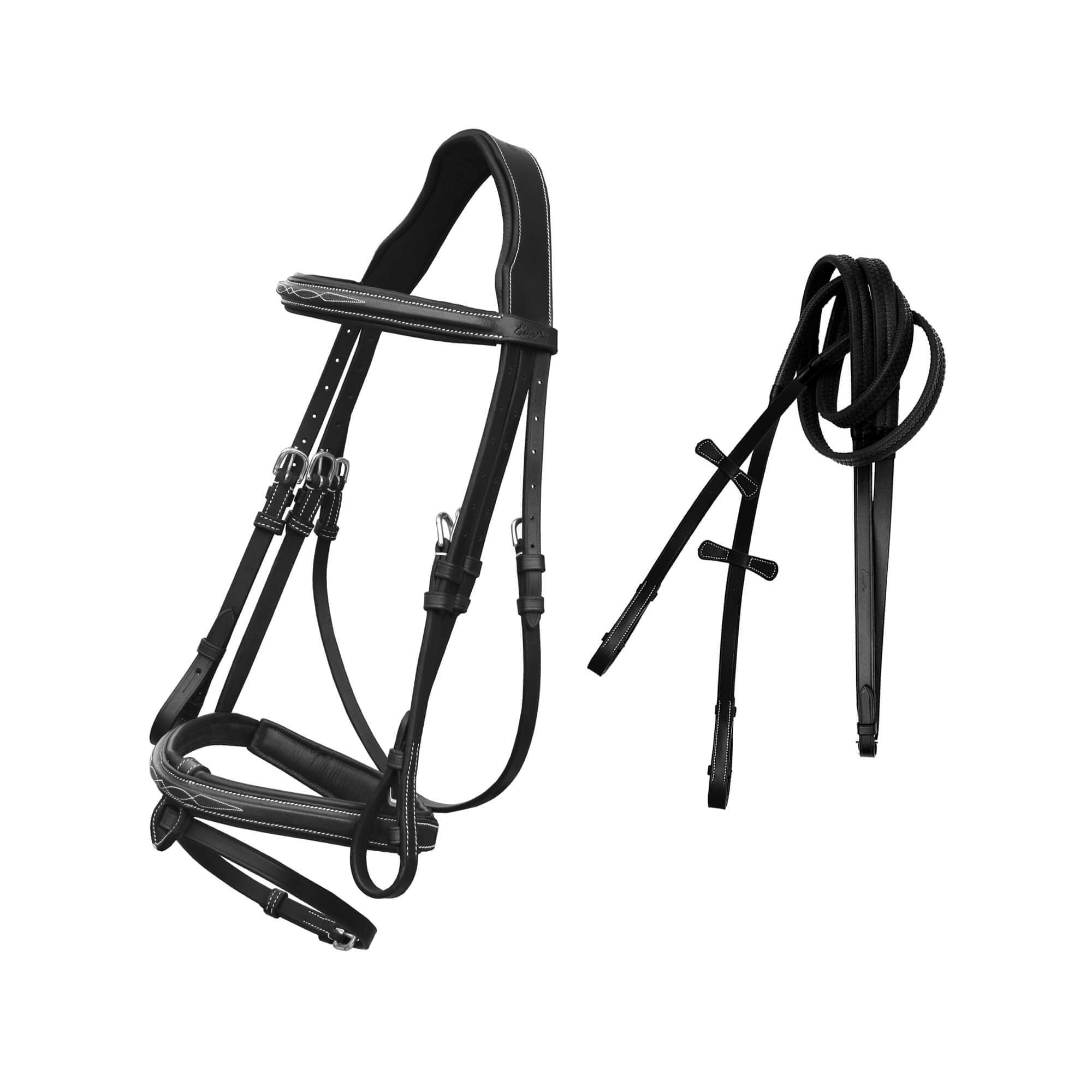 English Bridles-ExionPro Designer Stitched Snaffle Bridle With Mono Crown Piece & Rubber Reins-Bridles and Reins