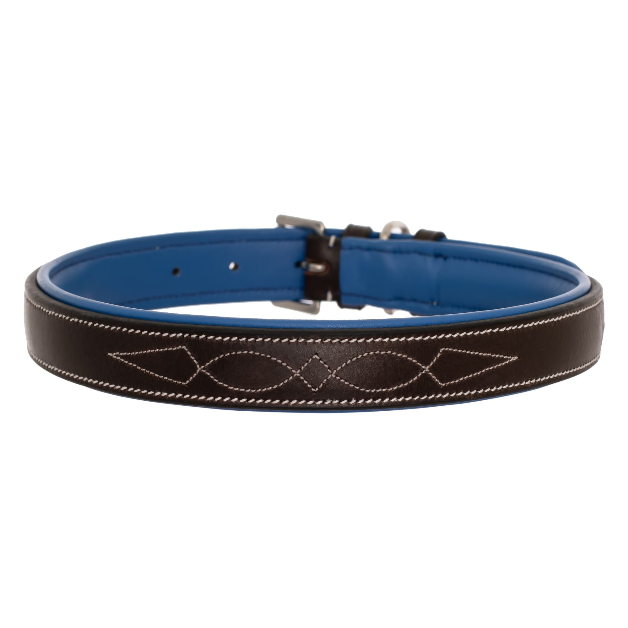 ExionPro Fancy Stitched Padded Leather Dog Collar - Blue Padding-Bridles & Reins