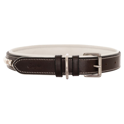 ExionPro Silver Clincher Padded Leather Dog Collar - White Padding-Bridles & Reins