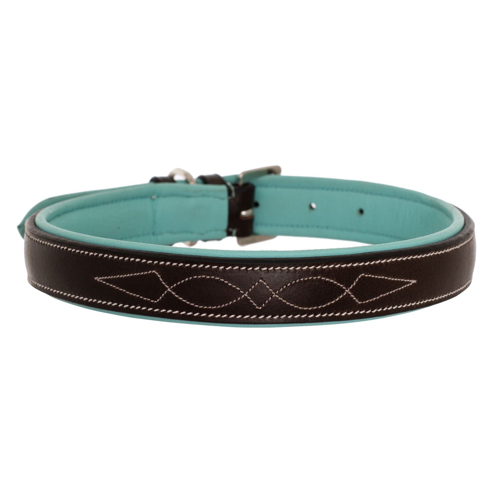ExionPro Fancy Stitched Padded Leather Dog Collar - Sky Blue Padding-Bridles & Reins