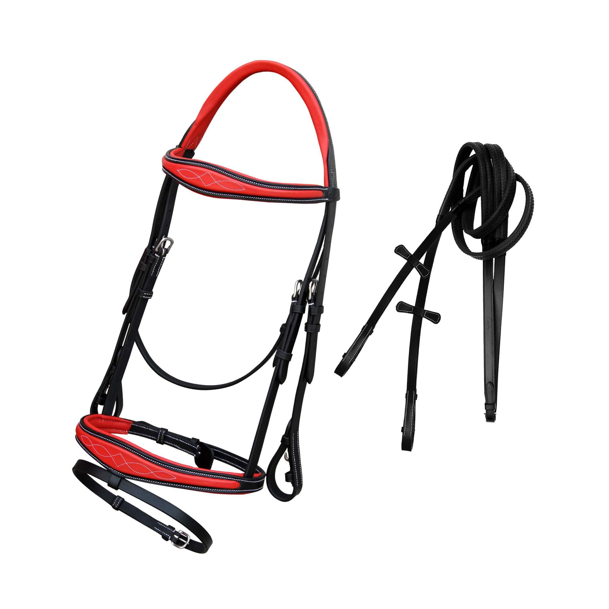 ExionPro Red Calfskin Lined Mono Crown Piece Anatomical Bridle with Rubber Rein-Bridles & Reins