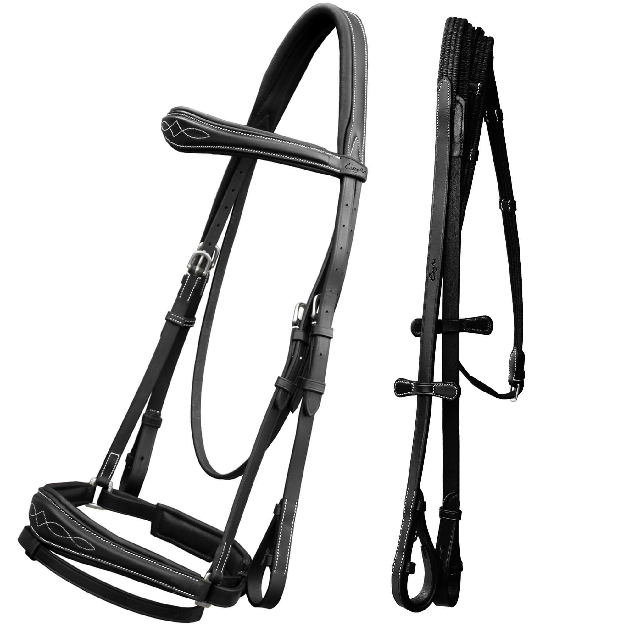 English Bridles-ExionPro Anatomical Dressage Bridle with Web Reins-Bridles and Reins