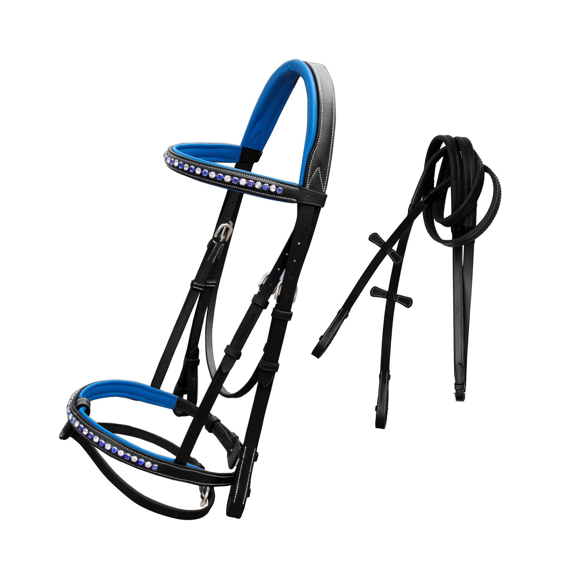 ExionPro Alternate White & Dark Blue Bling Jumping Bridle With Reins-Bridles & Reins