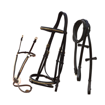 ExionPro Snaffle & Figure 8 Noseband Combo Bridle with 4 Reins-Bridles & Reins