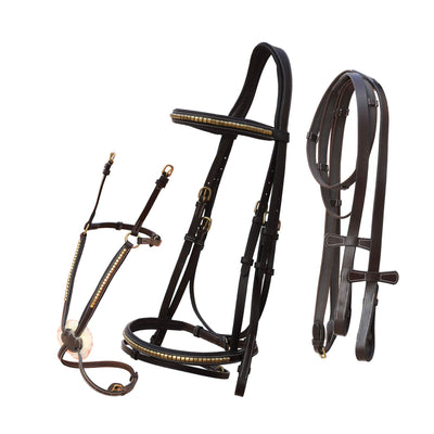 English Bridles-ExionPro Brass Clincher Snaffle & Figure 8 Noseband Combo Bridle with Anti Slip Reins-Bridles and Reins